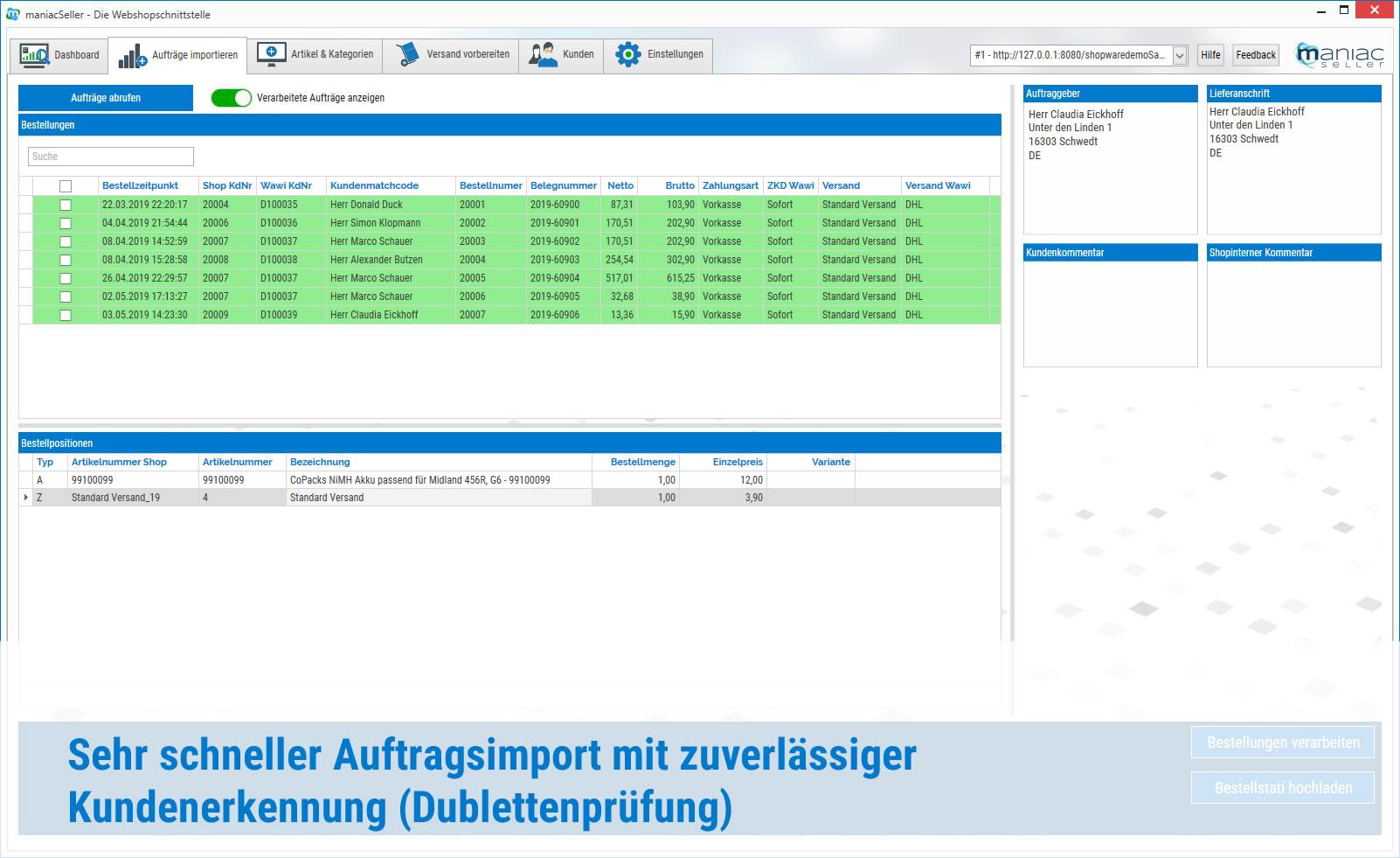 maniacSeller - Schneller Auftragsimport mit Dublettenprüfung Sage 100 Shopware Schnittstelle