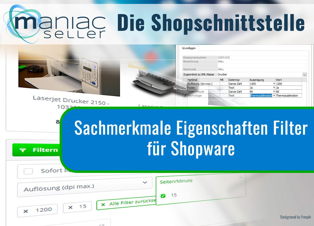 Sage Sachmerkmale für Shopware als Filter und Eigenschaften hochladen