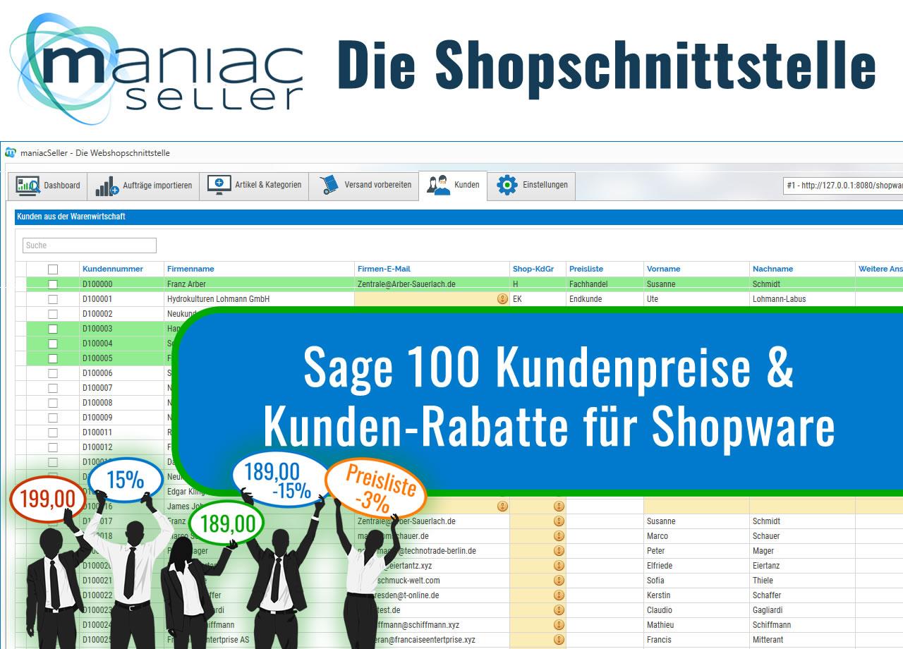 Kundenpreise & Rabatte für Shopware-Schnittstelle
